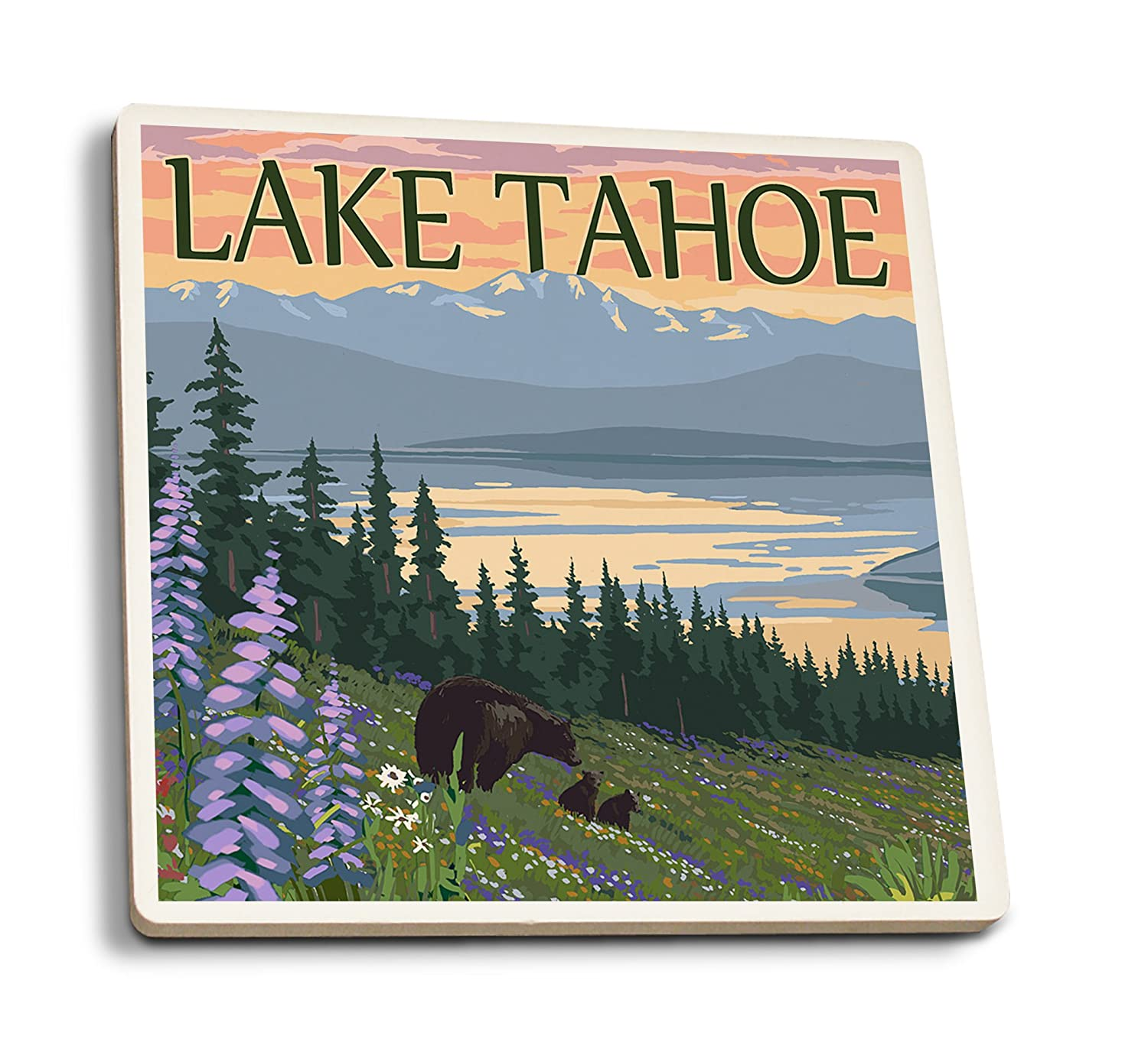 Lake Tahoe – Bear Family and Spring Flowers 4 Coaster Set LANT-46392-CT B0192R79C8 4 Coaster Set4 Coaster Set