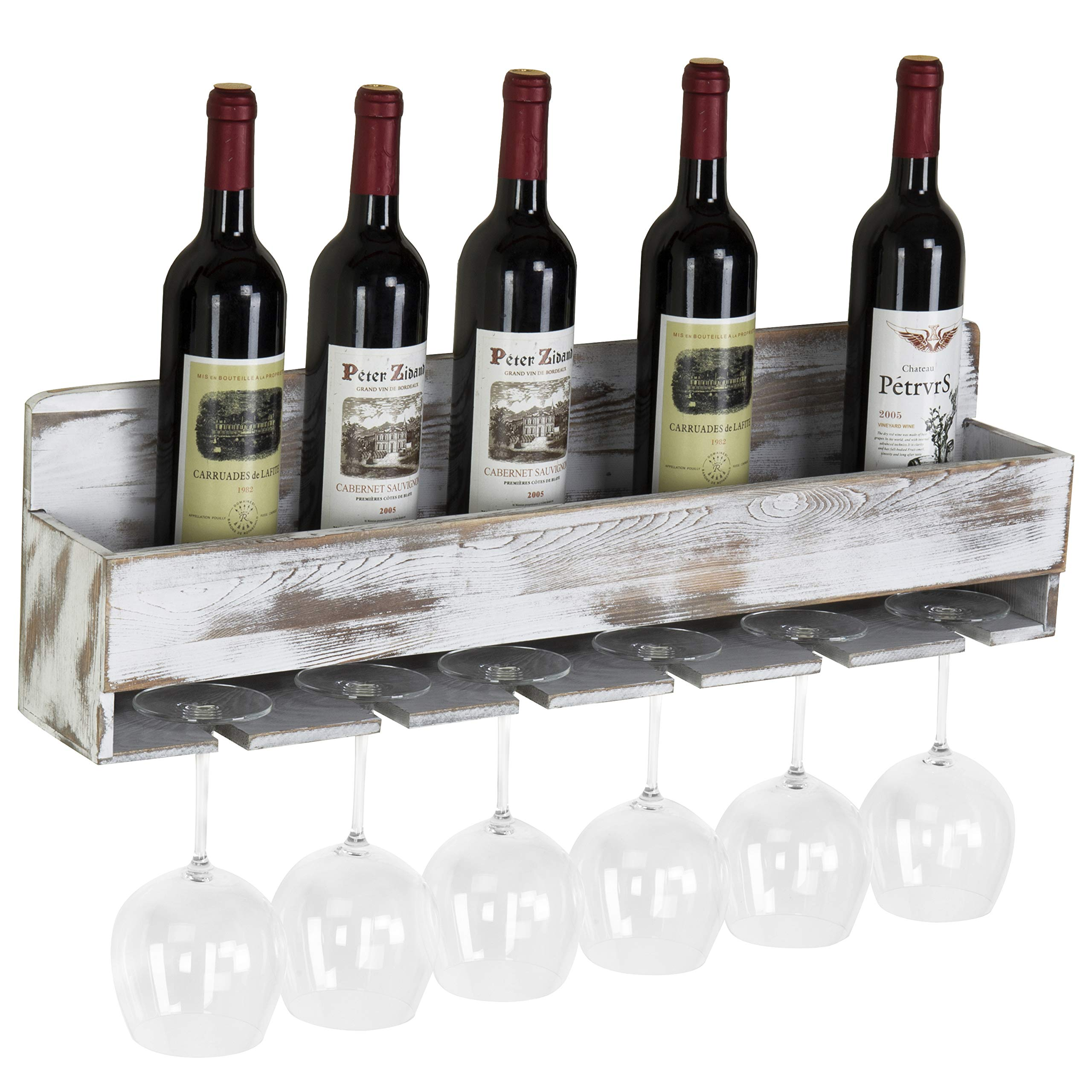MyGift Rustic Whitewashed Wood Wall-Mounted Wine Rack with Bottle & Glass Holder by MyGift (Image #4)