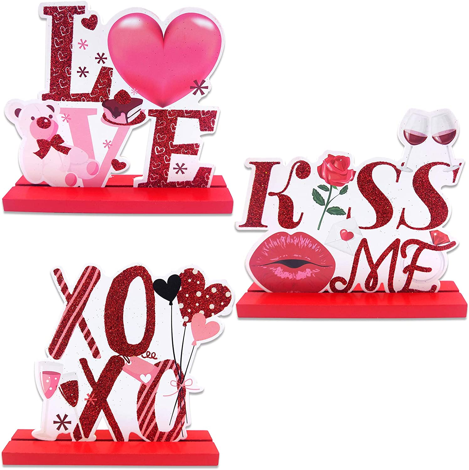 changsha 3 Pack Valentines Day Wooden Table Top Decorations, Red Love Kiss Me XOXO Wooden Signs Table Centerpieces Decoration for Valentine Dinner Party Table Home Decor