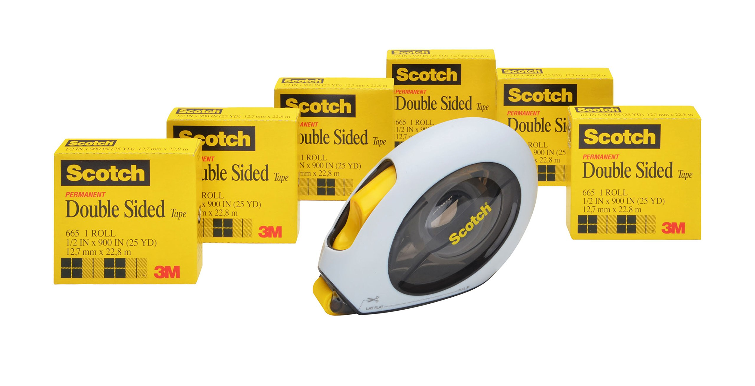Scotch Double Sided Tape Applicator, 1/2 x 900 Inches, 6 Rolls (665-6-160)