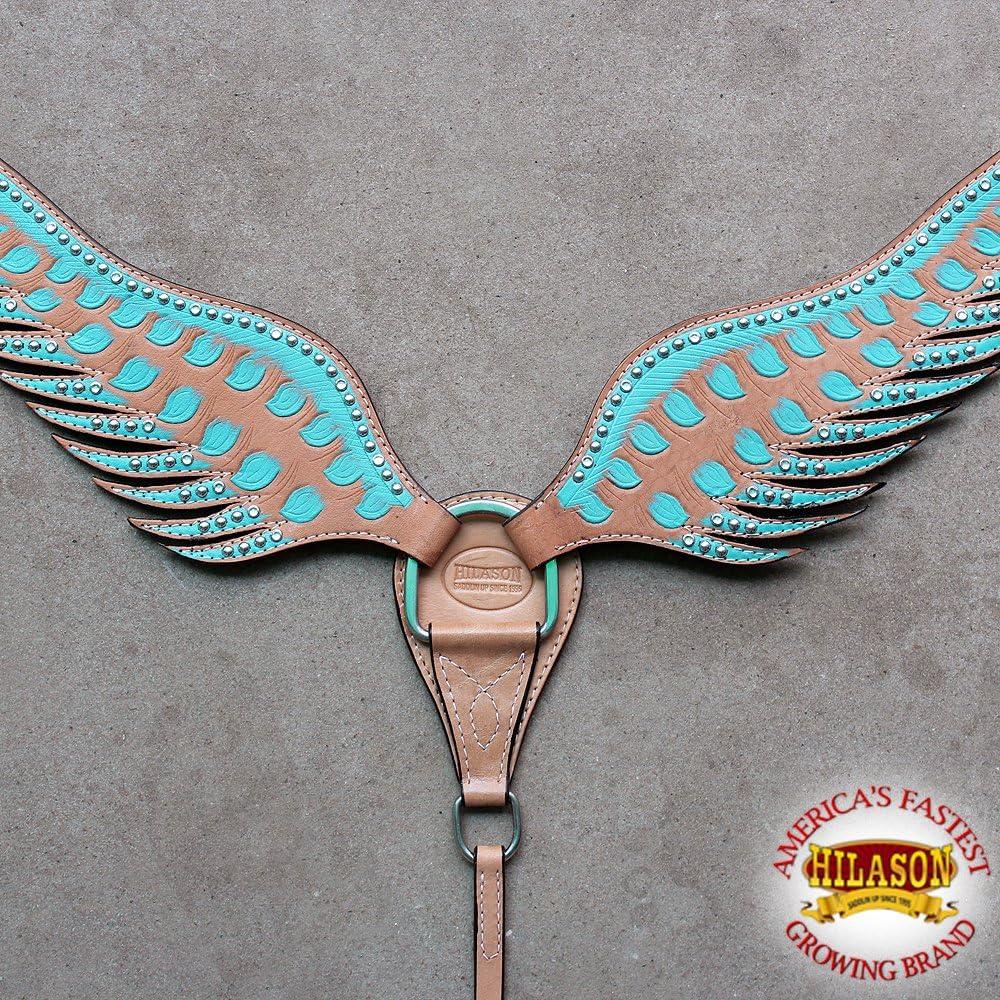 Hilason WesternレザーHorse Breast襟ターコイズブラウンAngel Wing