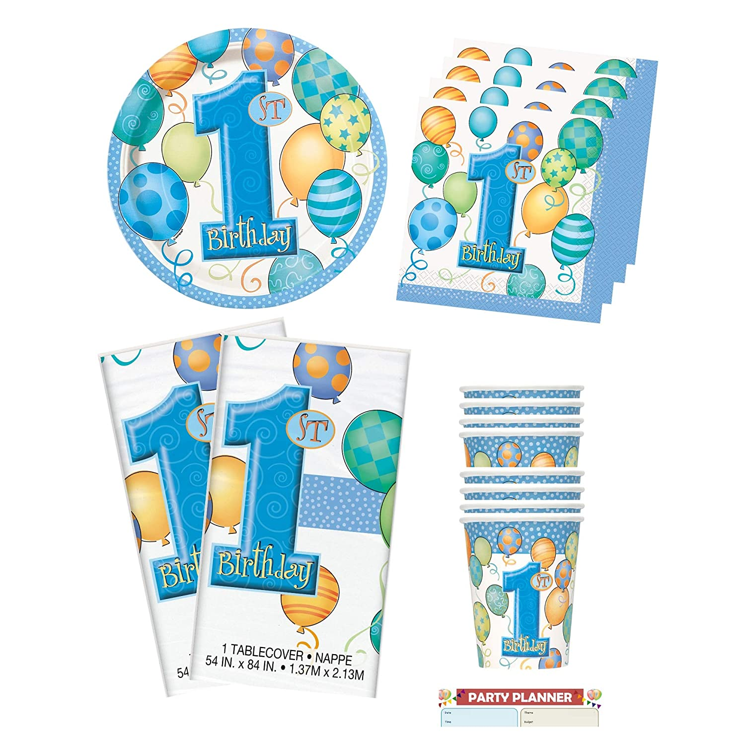 2 Table Cloth and Cups Tableware Bundle Boy Birthday Napkins Serves 16 Loulouben Blue 1st Birthday Blue Number 1 Plates