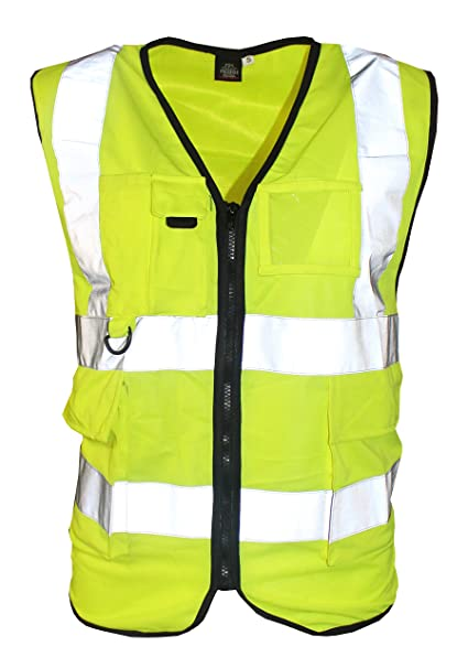f30ae049e4212 Executive Men s Hi Viz Vis Visibility Vest Waistcoat Zipper 2 Band  Reflective Workwear Pocket ID Safety Jacket Top (2XL