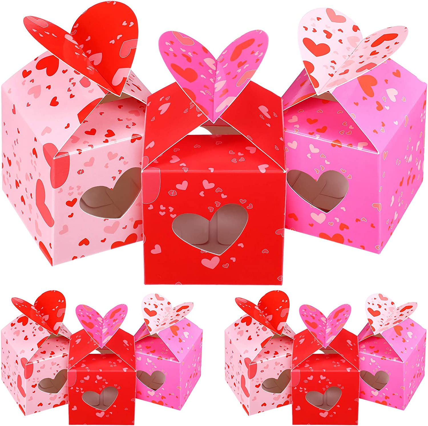 Gift box with lid heart bow design gift wrap for her him packing wrapping case packet casket jewelry box small birthday present box