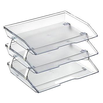 Acrimet Bandeja Portadocumentos 3 Niveles Para Cartas Facility (Color Cristal Transparente)