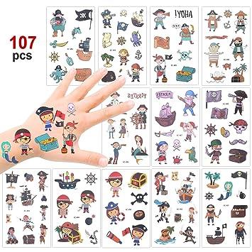 Konsait 100+ Pcs Pirata Tatuaje Niños, Falso Tatuajes temporales Pegatinas para niños Chicos Niñas Pirata Infantiles Fiesta de cumpleaños Regalo ...