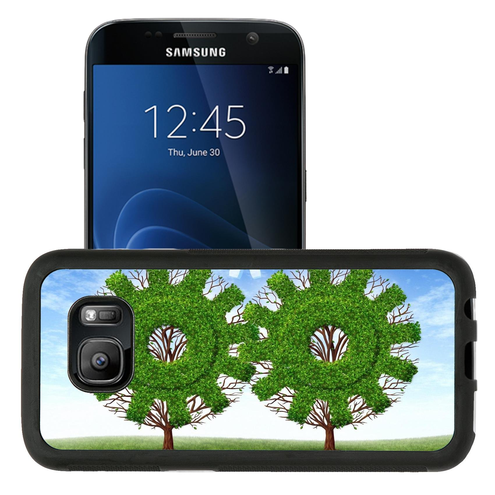 Liili Premium Samsung Galaxy S7 Aluminum Snap Case Cloud computing growth and the future of virtual storage and internet based remote desktop illustrated by trees and clouds in the sh by Liili
