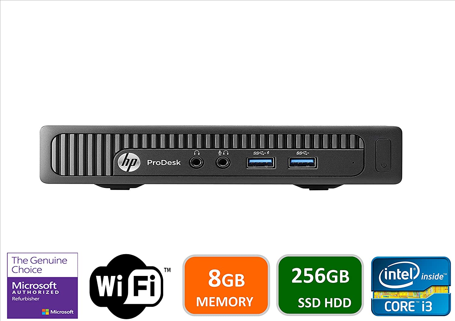HP 600 G1 Micro Computer Mini Tower PC (Intel Quad Core i3-4160T, 8GB DDR3 Ram, 256GB Solid State SSD, WIFI, VGA, USB 3.0) Win 10 Pro (Renewed)