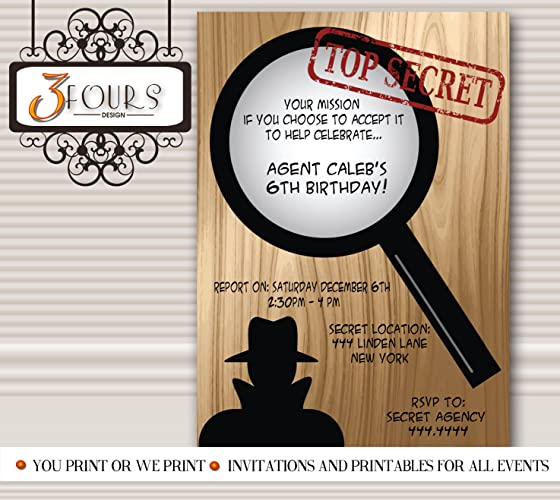 Amazon Com Spy Secret Agent Birthday Party Invitations Handmade