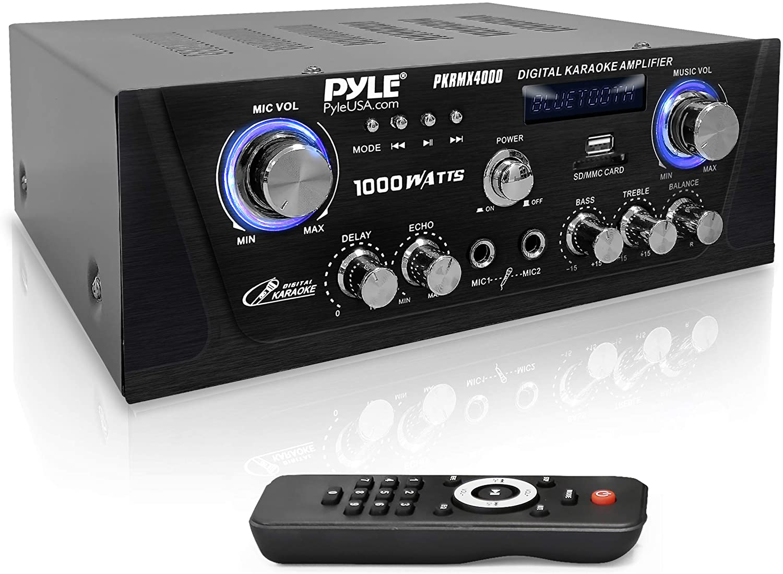 Bluetooth Digital Home Karaoke Amplifier - 600W Home Audio Desktop Power Amplifier Receiver w/LED Display, Cooling Fan, USB/SD Memory Card Reader, Optical/Coaxial, DVD/Mic Inputs - Pyle PKRMX4000