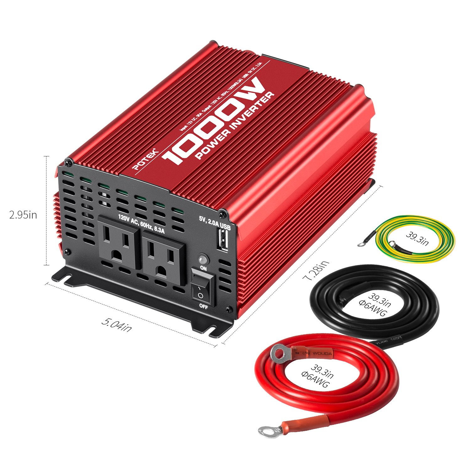 amazon com potek 1000w power inverter dc 12v to ac 110v car rh amazon com