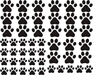 JURUOXIN 49 Pieces/Set Dog Paws Wall Decals Vinyl Pawprints Sticker Animal Footprint Wall Art Decoration for Kids Boy Girl Baby Nursery Bedroom Living Room Animal Tracks Decor YMX21 (Black)