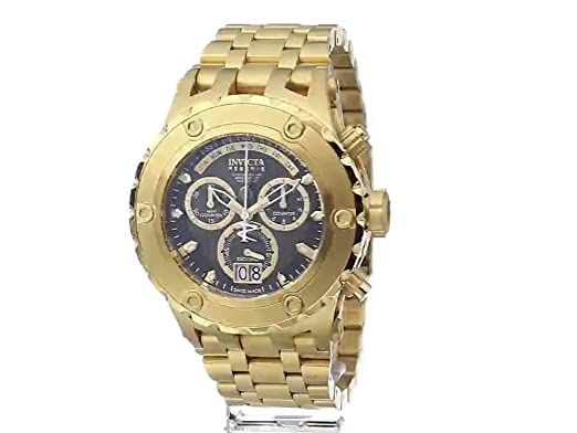 Amazon.com: Invicta Mens 14468 Subaqua Reserve Chronograph Black Carbon Fiber Dial 18k Gold Ion-Plated Stainless Steel Watch: Invicta: Watches