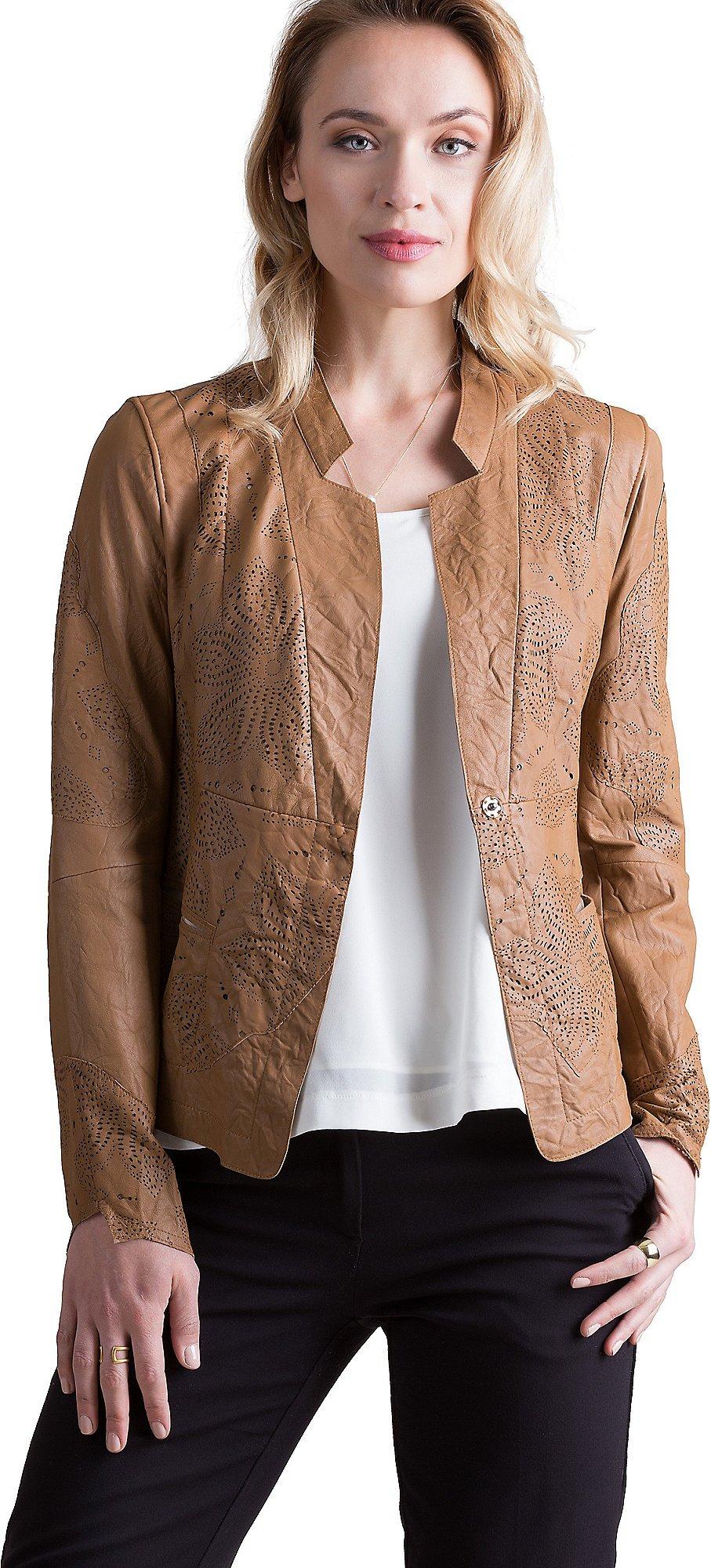 Overland Sheepskin Co Mara Vintage Style Italian Lambskin Leather Jacket