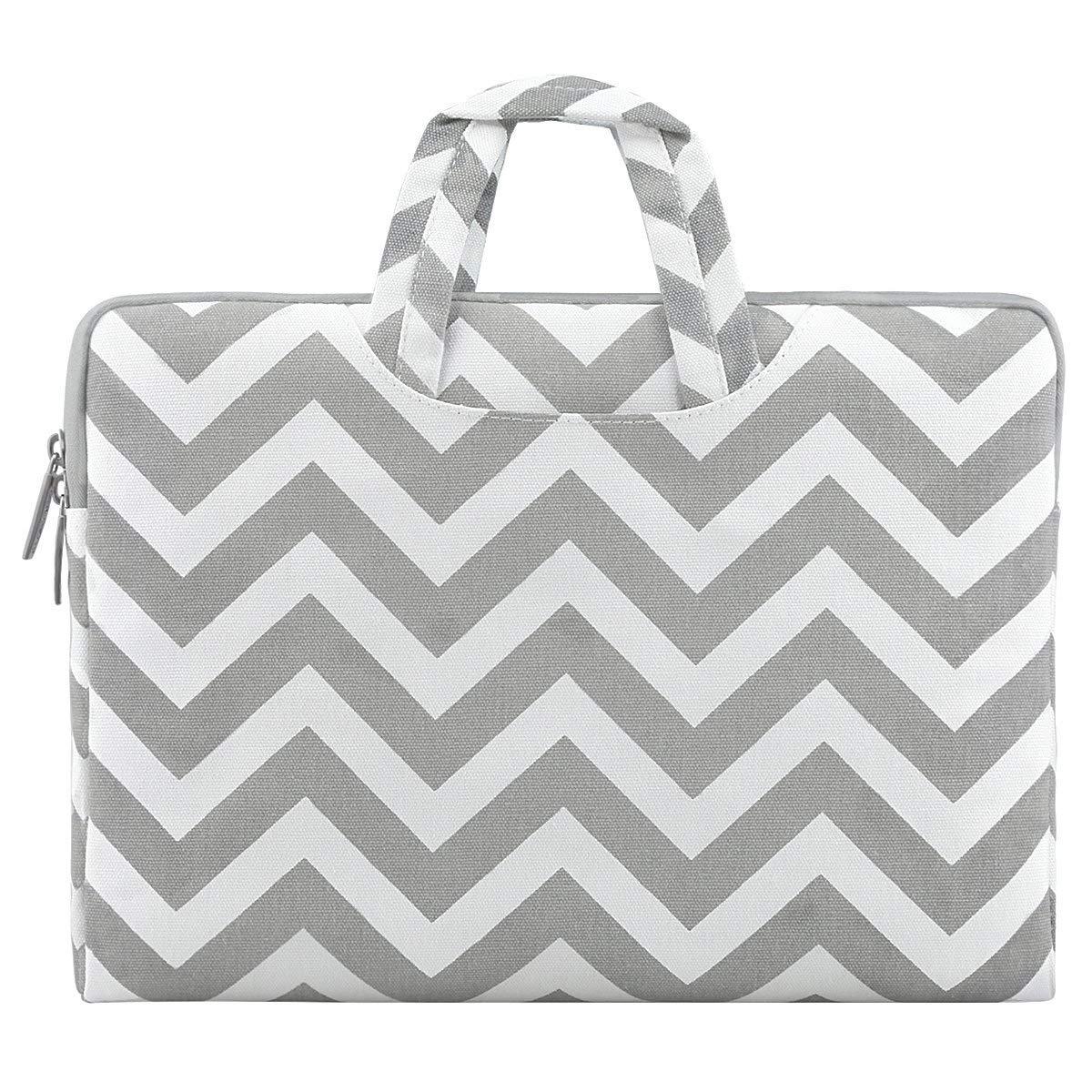 MOSISO Laptop Briefcase Handbag Compatible 13-13.3 Inch MacBook Pro, MacBook Air, Notebook Computer, Chevron Style Canvas Fabric Carrying Sleeve Case Cover Bag, Gray