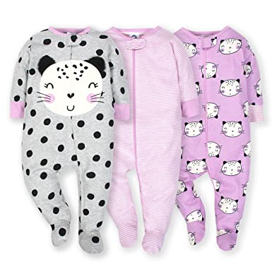 8171efa42a Amazon.com  Gerber Onesies Baby Girl Sleep N  Play Sleepers 3 Pack ...