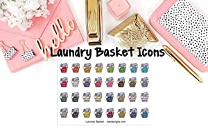 Laundry Basket Icons, Planner Calendar Stickers, 2 sheets on matte sticker paper kiss cut, just peel and stick.
