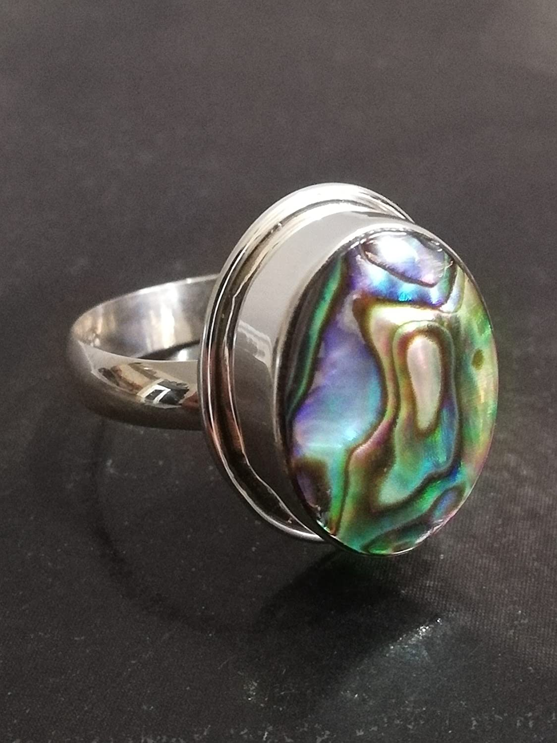 Vtg 925 Sterling Silver Abalone Shell Ring Size 6.5 Pearl Rings