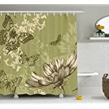 Manerly Butterflies flying on flowers Bathroom Decor 72X72 inches Mildew Resistant Polyester Fabric Shower Curtain Set