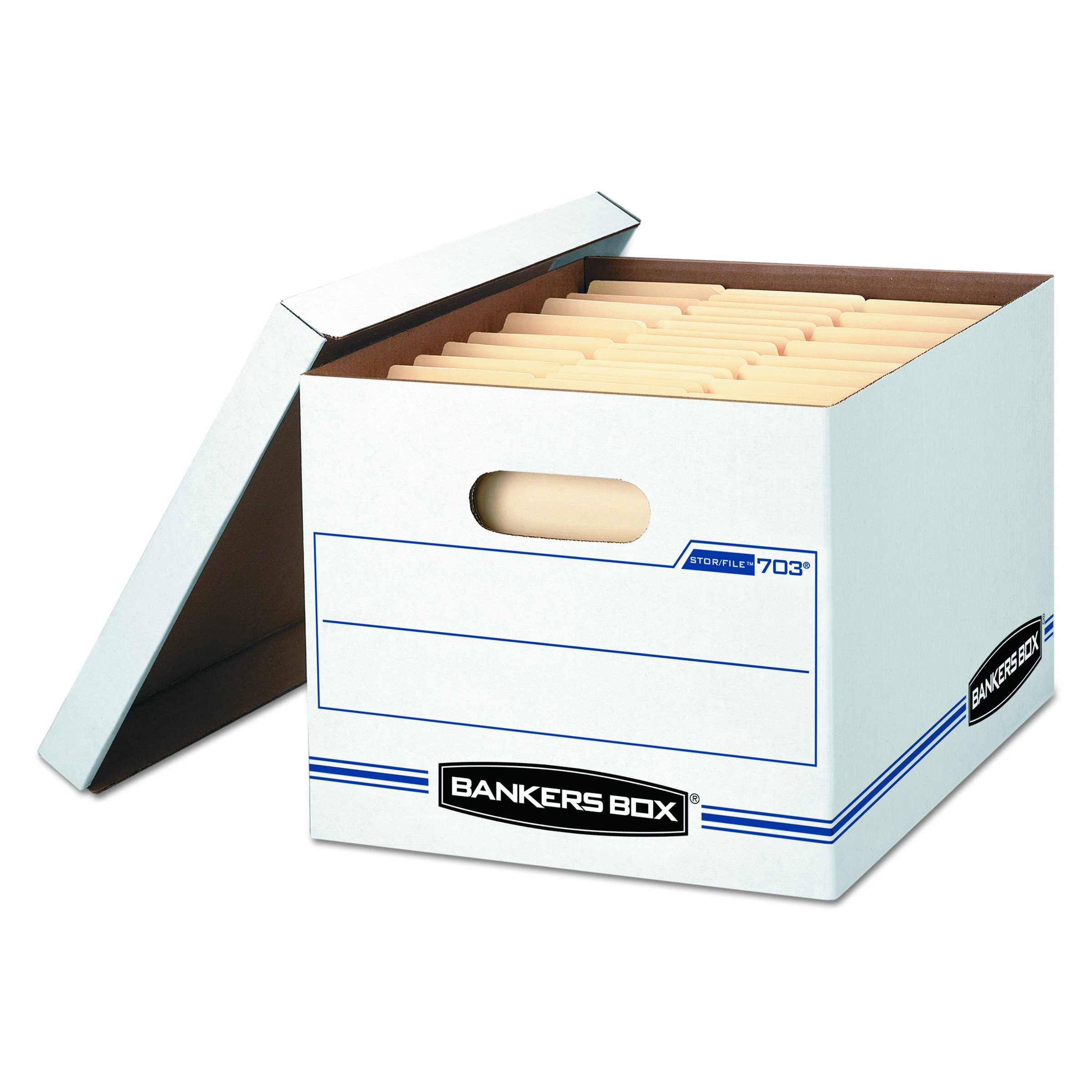 Bankers Box STOR/FILE Storage Boxes, Standard Set-Up, Lift-Off Lid, Letter/Legal, Case of 12 (00703) by Bankers Box