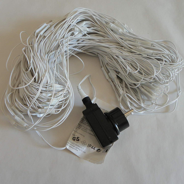 Lichternetz 3x2 4x2 3x3 m warmweiß 200 LED außen Kabel weiß von ...