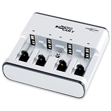 ANSMANN PhotoCam V Tischladegerät für 1-4 NiMH oder NiCd Akkus / Akkuladegerät für Micro AAA Mignon AA Baby C Mono D & 9V E-B