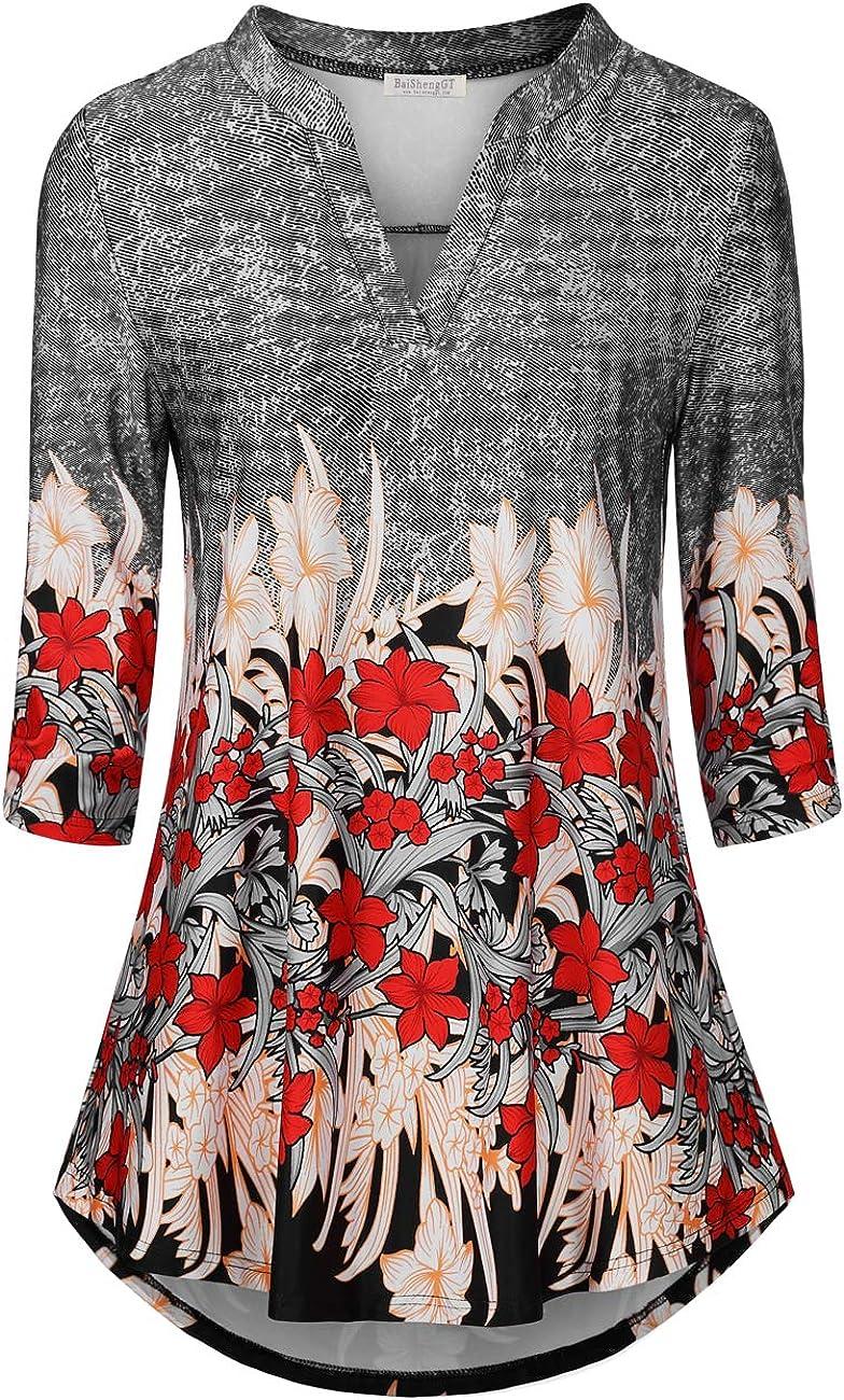 BAISHENGGT Maglietta da Donna a Maniche Lunghe Motivo Floreale con Scollo a V