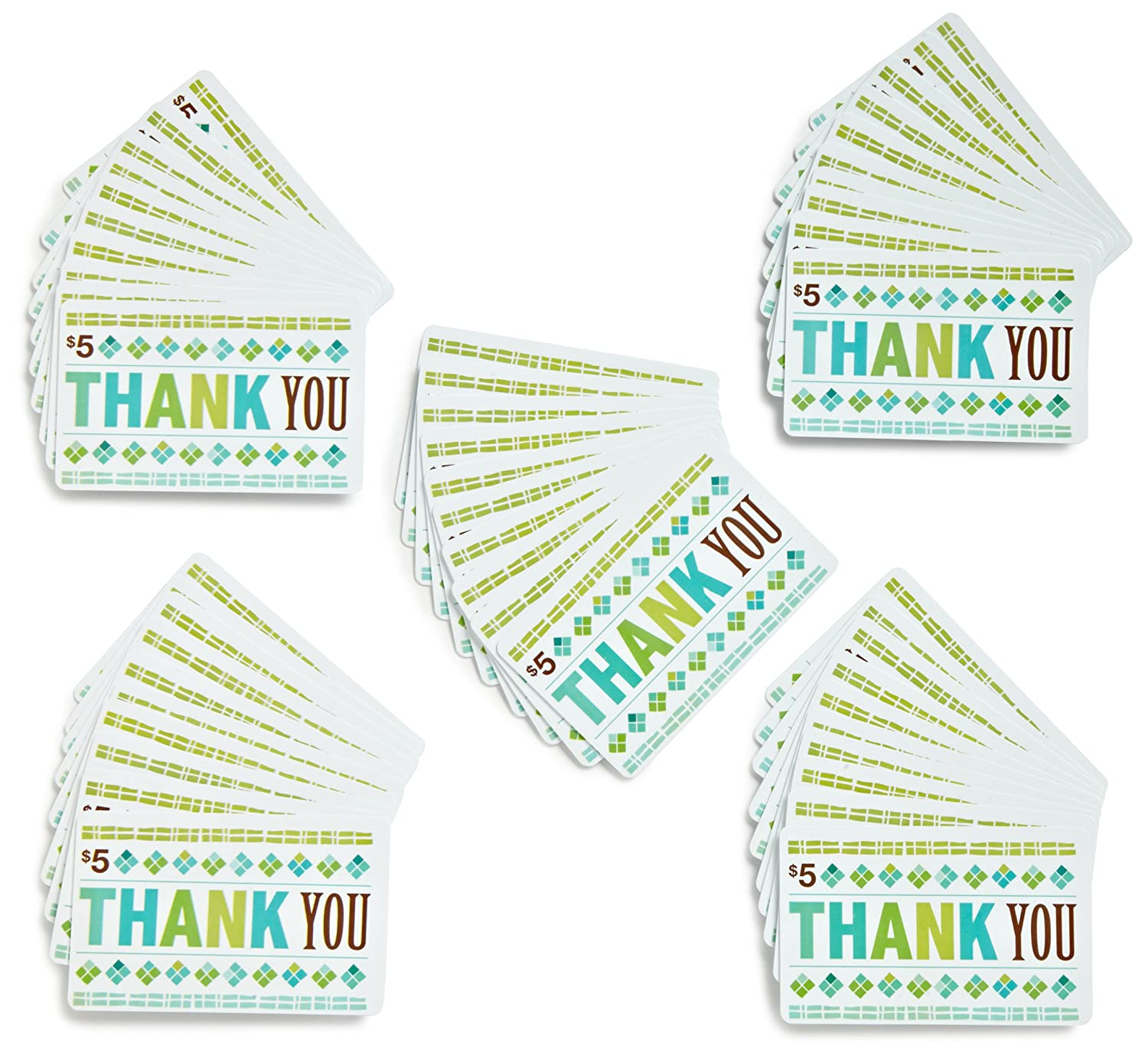amazon com amazon com 5 gift cards pack of 50 thank you card