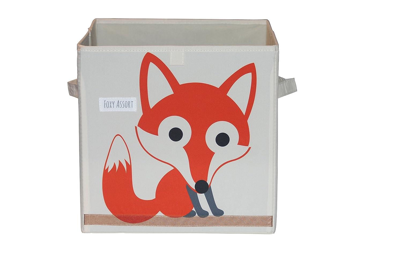 人気デザイナー Foxyassort多目的収納ボックス、フォックス柄。子供用寝室のおもちゃ、本、パズルに最適なキューブグローブ   B0744Z3PNB, 国産手作り家具のハンドリー:96ff17fa --- arianechie.dominiotemporario.com