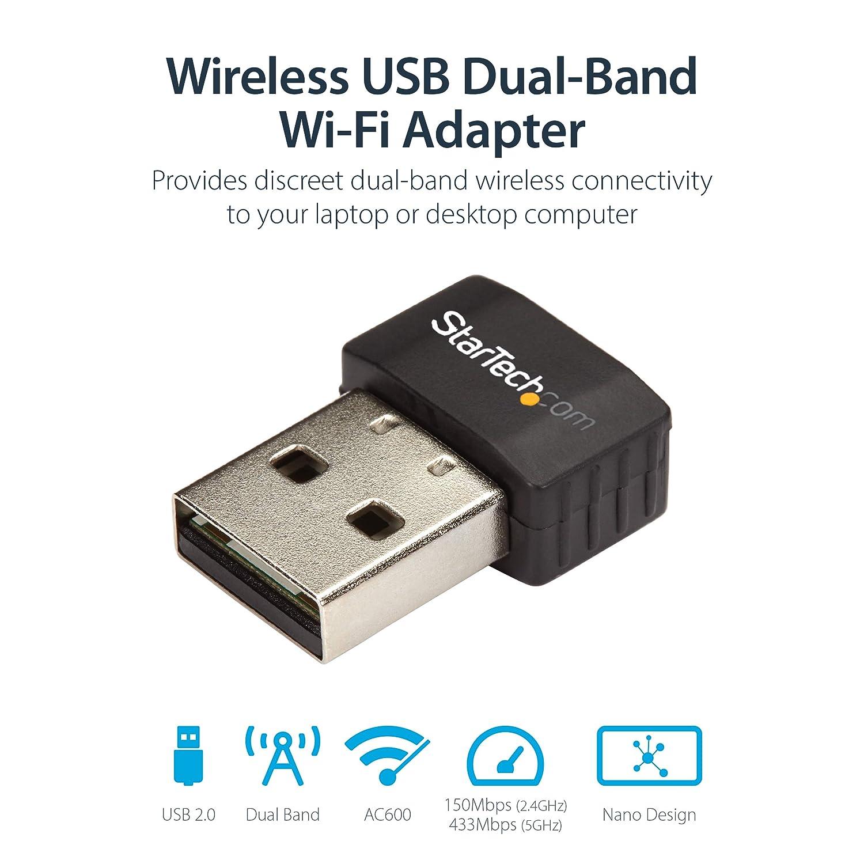 StarTech com Wireless USB WiFi Adapter – Dual Band AC600 Wireless Dongle -  2 4GHz / 5GHz - 802 11ac Wi-Fi Laptop Adapter (USB433ACD1X1)
