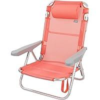 Aktive 62628 - Silla de playa plegable con cojín, reclinable, 5 posiciones, con asa de transporte, 60x47x83 cm, altura…