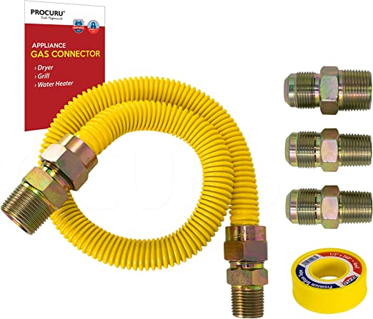 PROCURU 1 OD x 12 Length x 3//4 MIP x 3//4 FIP Gas Flex Line Connector Kit with 3//4 Valve WeatherProof Max-Flow Stainless Steel with Yellow SafeGuard Coating for Tankless Water Heater