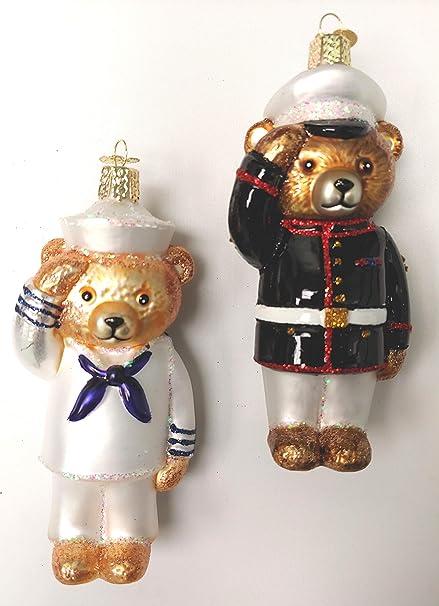 Amazon Com Set Of Navy And Marine Bear Christmas Ornaments Home