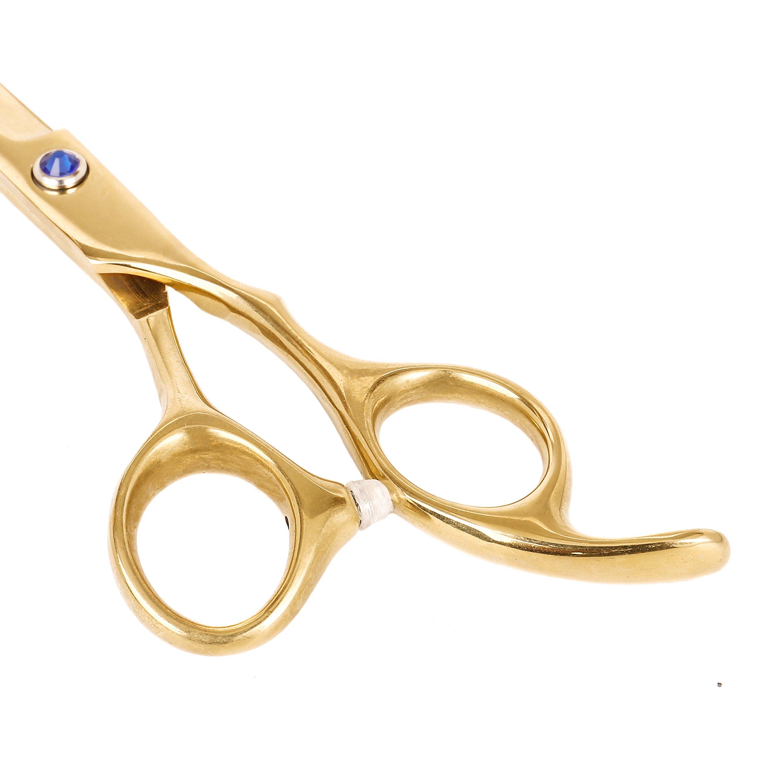 2018 Newest Hair Cutting Scissors Shears Professional Barber Hairdressing Scissors Hair Straight Sharp Scissors With Fine Adjustment Tension Screw Salon Razor Edge Scissors For Women/Men 6.5 Inch gold by JAVEN (Image #4)