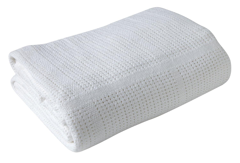 Clair de Lune Pram & Travel Extra Soft Cotton Cellular Baby Blanket (White) CL4982W