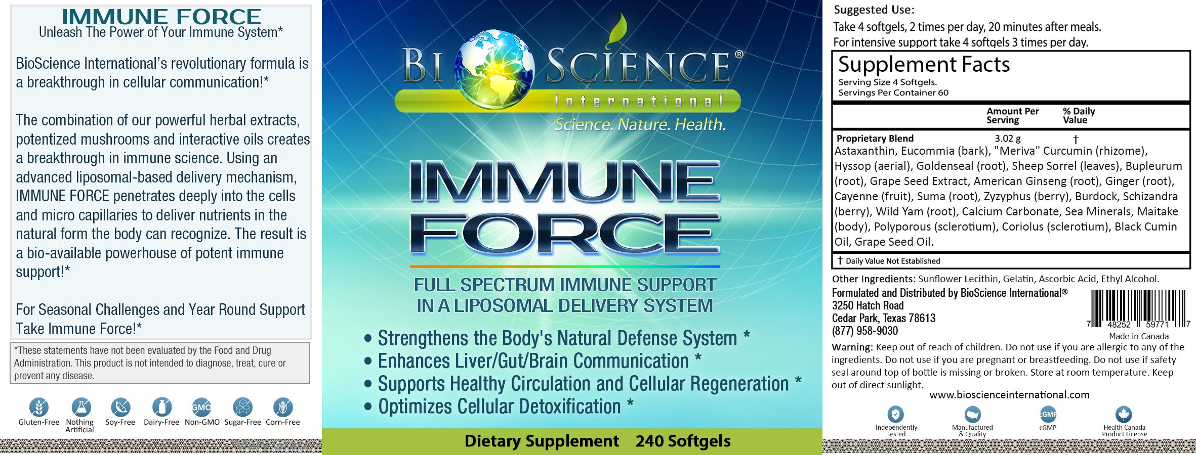 BIOSCIENCE Immune Force: Super Advanced Immune Support Booster Supplement For Men & Women (240 Softgels) Anti Inflammatory Wellness Immunity Booster With Mushroom Content by Bioscience International (Image #3)