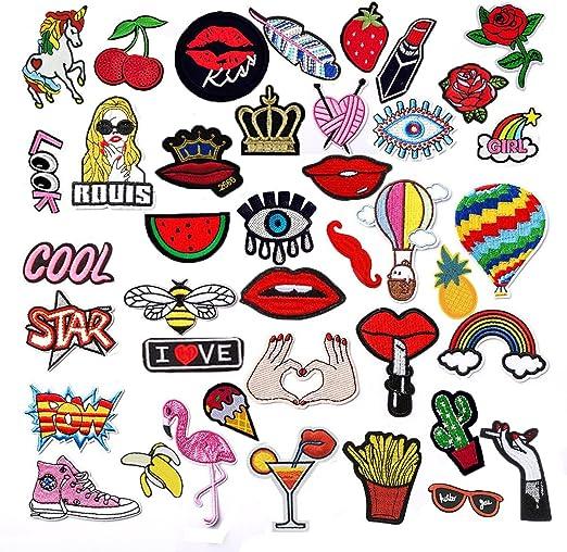 Rxnon Patch Sticker,Bordados Parches para Ropa, 40 Pcs DIY Animados Coser Parches Termoadhesivos Apliques para la ...