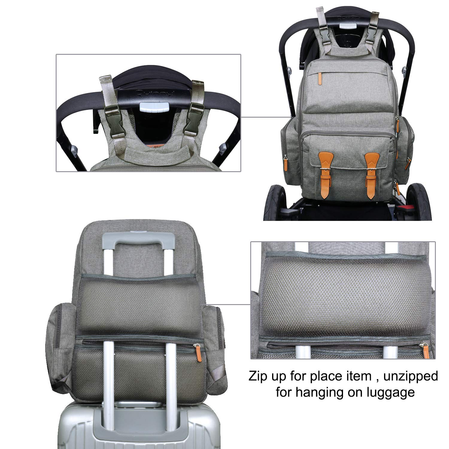 Estarer Baby Changing Backpack Bag with Changing Mat for Twins,Water Resistant Nappy Rucksack Large Diaper Bag for Pram Grey