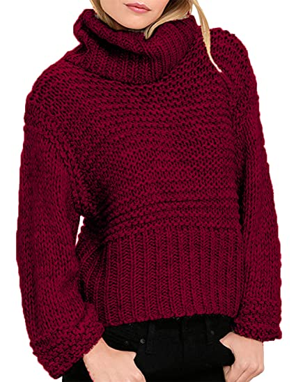 hodoyi Womens Turtleneck Long Sleeve Cable Knit Pullover Sweater at ... 1998d48a0