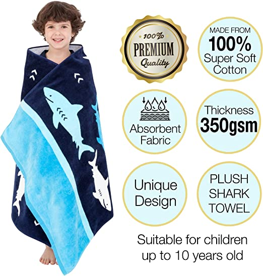 Cotton Travel Towel Kids Beach Towel Perfect for Vacations Shark Beach Towel for Boys Yayme Fun Summer Accessories and Toddler Beach Blanket The Swimming Pool and Bath Time for Kids and Toddlers