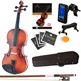 Mendini Full Size 4/4 MV300 Solid Wood Violin with Tuner, Lesson Book, Extra Strings, Shoulder Rest, Bow and Case, Satin…
