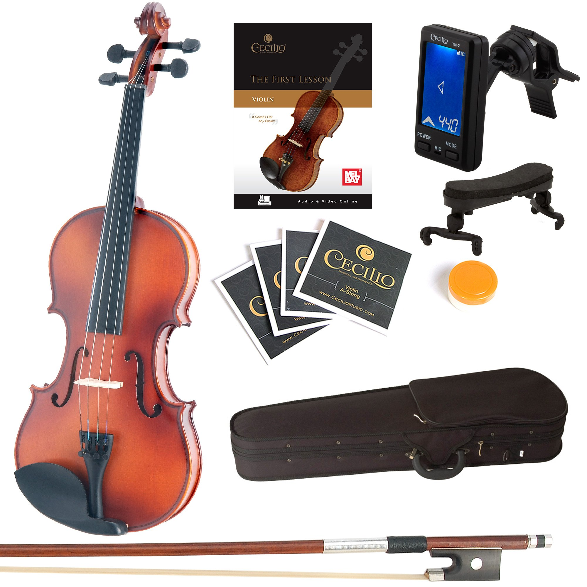 Mendini Full Size 4/4 MV300 Solid Wood Violin with Tuner, Lesson Book, Extra Strings, Shoulder Rest, Bow and Case, Satin Antique Finish by Mendini by Cecilio