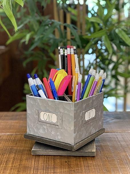 "Rae Dunn /""PENS/"" Wood Pens Pencils Holder"