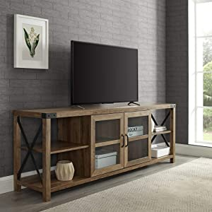 "WE Furniture TV Stand, 70"", Reclaimed Barnwood"
