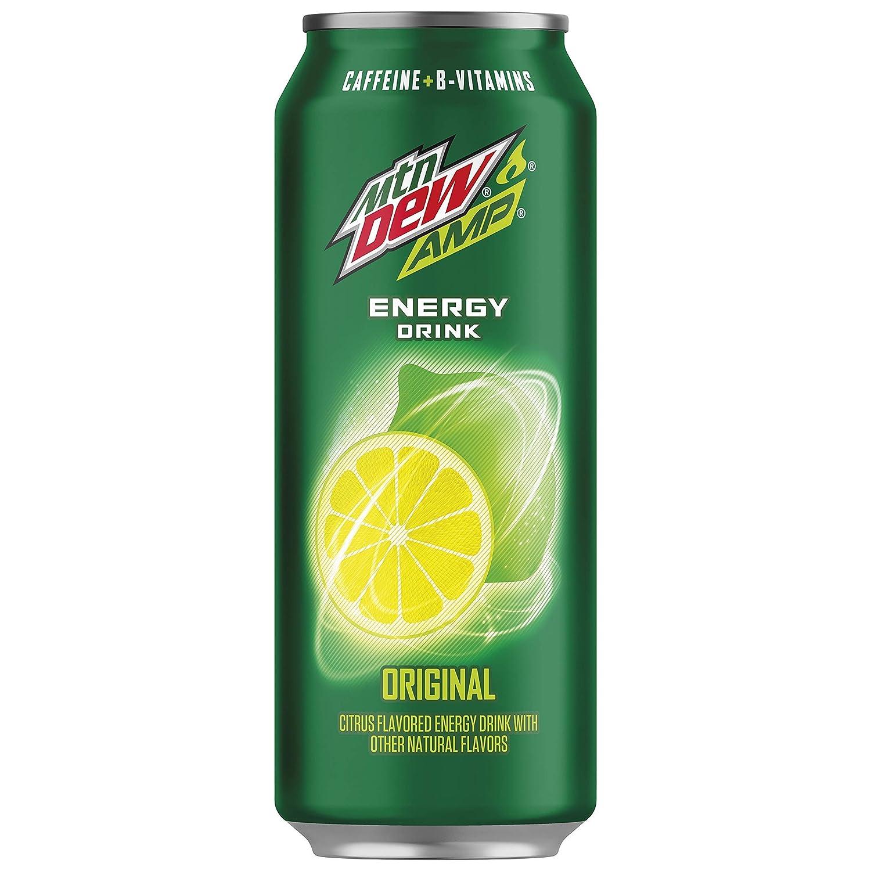 Amp Energy, Original, Caffeine, B Vitamins, 16 Fl Oz. Cans (12 Pack), Set of 2