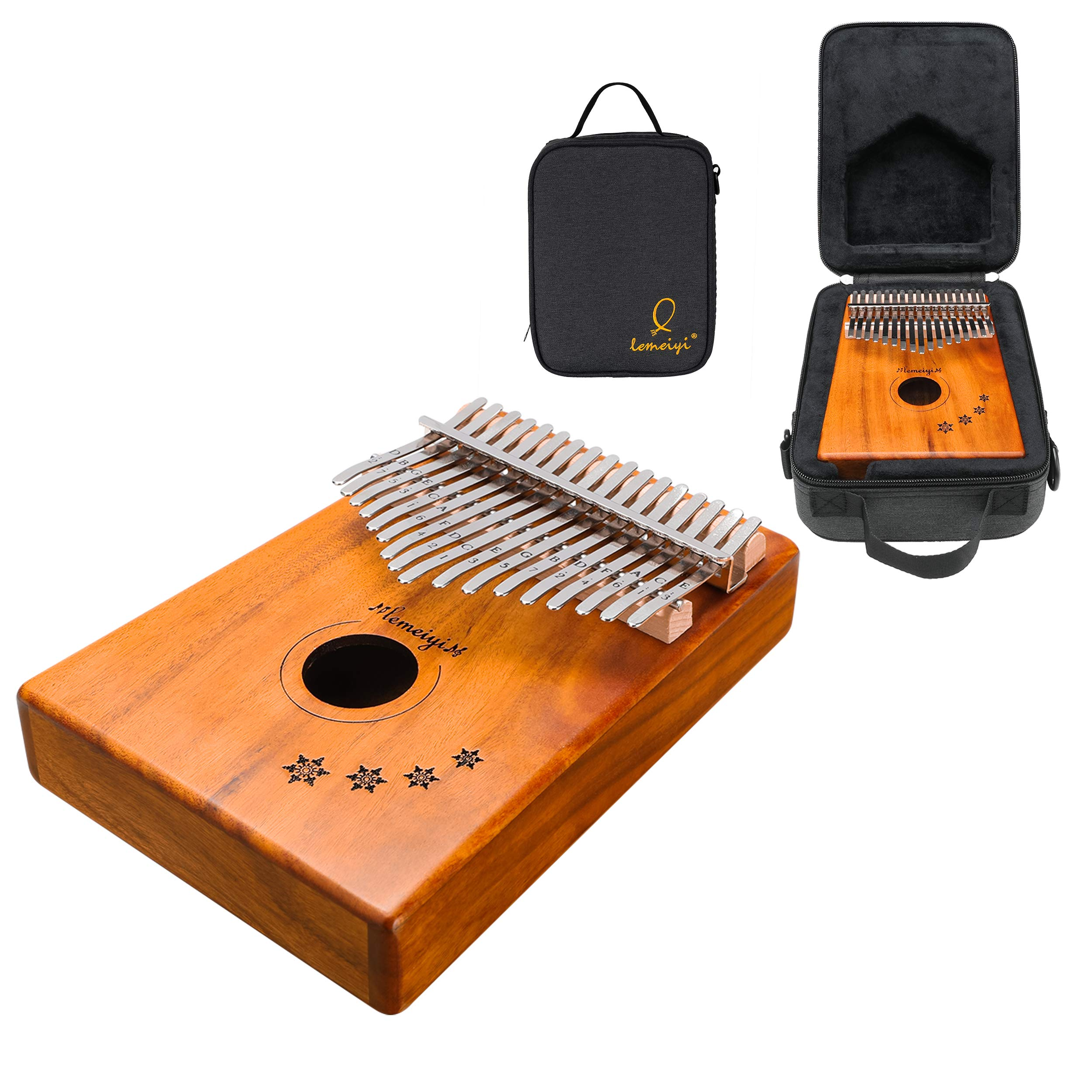 LEMEIYI Kalimba 17 Key with Mahogany,Portable Thumb Piano Mbira Sanza of Wooden Attached Ore Metal Tines with Kalimba Case
