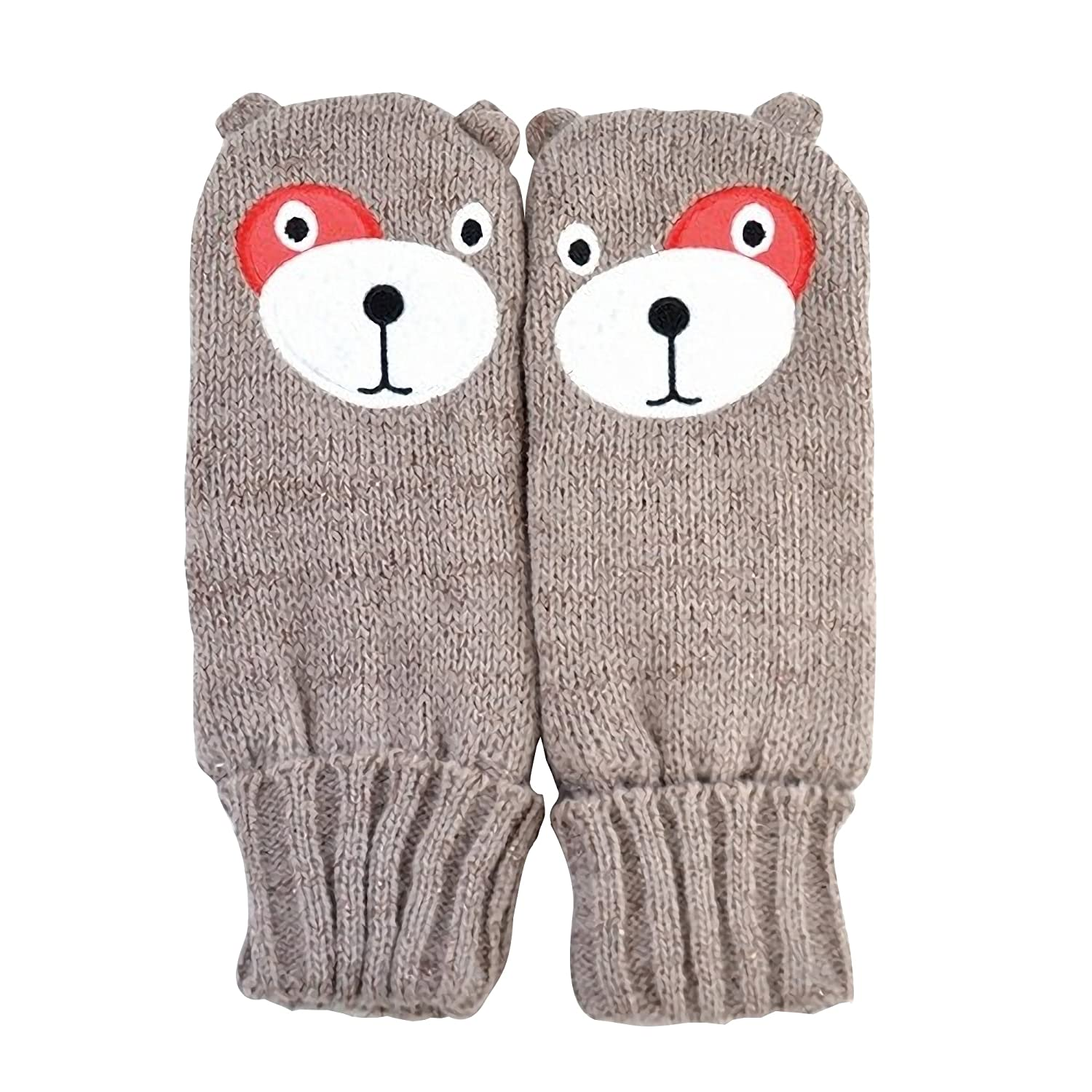 Childrens/Kids Girls Teddy Bear Design Winter Mittens (7-10 Years) (Brown) Universal Textiles UTGL223_14