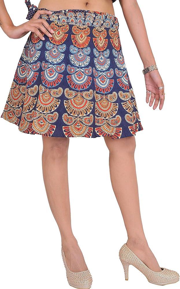 India Sanganeri envolventes mini-falda con motivos impresos ...