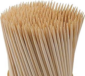 Fasmov 1000 Pack Bamboo BBQ Appetizer Shish Kebab Skewers Natural Semi Point Bamboo Sticks, 8-Inches