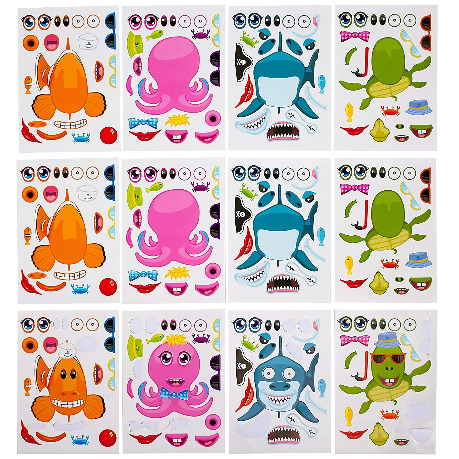 Make your own stickers make a sea creature fish sticker sheets 12 assorted for kids boys girls party favors arts crafts home playing